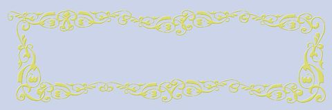 Blank banner. Light blue background with golden frame stock photo