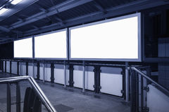 Blank Banner neon box media display in station Stock Photo