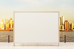 Blank banner observation ground. Observation ground with blank banner and sunlit city background. Mock up, 3D Rendering Stock Photo
