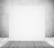 Blank banner in a old white room Stock Image