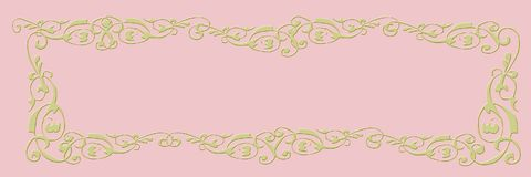Blank banner. Pink background with golden frame royalty free stock image