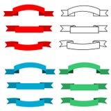 Blank Banner Ribbon Set. Blank banner ribbons in red, blue and black outline Stock Illustration