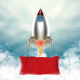 Blank banner with space shuttle launch. Blank banner hanging with space shuttle launch royalty free illustration