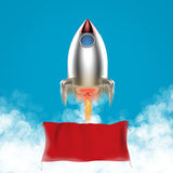 Blank banner with space shuttle launch Royalty Free Stock Image