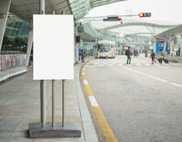 Blank Banner stand Building outdoor Airport shuttle bus service Stock Photos