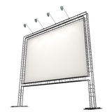 Blank banner. Blank white banner on metal truss with lighting equipment Stock Images