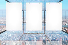 Blank banners in glass room Stock Images