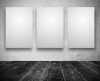 Blank banners in a old dark room. Gallery Interior with empty banners in a old white room Royalty Free Stock Photography