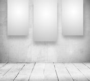 Blank banners in a old white room. Gallery Interior with empty banners in a old white room Royalty Free Stock Photo