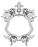 Baroque Shield Drawing. Blank baroque shield with floral ornament and stroked shades. Hand drawn vintage heraldic insignia design isolated on white. Old style royalty free illustration