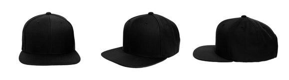 Blank baseball snap back cap color black. On white background Stock Images