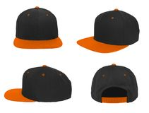 Blank baseball snap back cap two tone color black/orange. On white background stock images