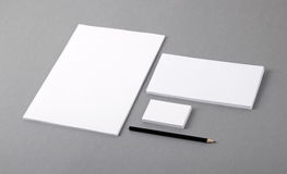 Blank basic stationery. Letterhead flat, business card, envelope. Photo. Template for branding identity. For graphic designers presentations and portfolios Stock Image