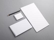 Blank basic stationery. Letterhead flat, business card, envelope. Photo. Template for branding identity. For graphic designers presentations and portfolios Royalty Free Stock Images