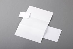 Blank basic stationery. Letterhead folded, business card, envelo Stock Photos