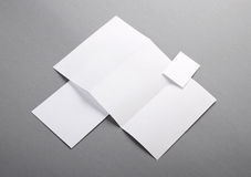 Blank basic stationery. Letterhead folded, business card, envelo. Photo. Template for branding identity. For graphic designers presentations and portfolios Royalty Free Stock Photo