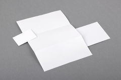 Blank basic stationery. Letterhead folded, business card, envelo Royalty Free Stock Photography