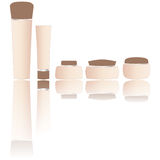 Blank beige cosmetics tubes isolated white. Different shapes bottles and tubes isolated on white background - illustration. Each object on different layer Royalty Free Stock Photos