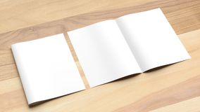 Blank Bi fold A4 size brochure mock up on wooden background. 3D royalty free stock photo