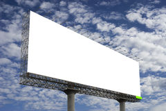 Blank big billboard against blue sky background,for your advertising,put your own text here,isolate white on board. Stock Photography