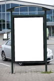 Blank bilboard stand. In parking place stock image