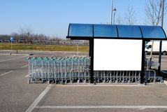 Blank bill board on a trolleys canopy Royalty Free Stock Photos