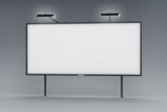 Blank billboard. 3D rendered image of blank billboard with lamps Royalty Free Stock Photo