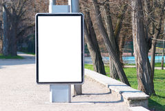 Blank billboard. Vertical blank billboard on the city street stock photography