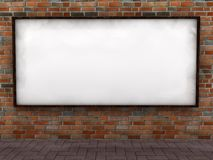 Blank billboard. Empty billboard on brick wall. Computer render stock illustration