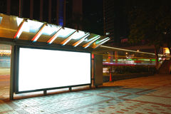 Blank billboard. In city at night stock photography