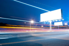 Blank billboard. In the city with heavy traffic royalty free stock images