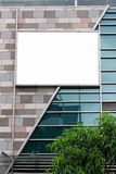 Blank billboard. On office building wall stock images
