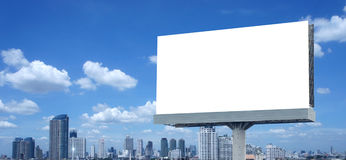 Blank billboard. On blue sky stock images