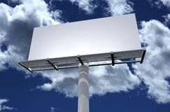 Blank Billboard. Blank Solid White 3D Billboard on Cloudy Blue Sky. Outdoor Advertising Theme Royalty Free Stock Photography