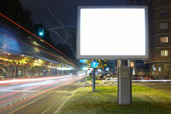 Blank billboard. Billboard in the city street, blank screen clipping path included royalty free stock photo