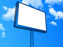 Blank billboard. Blank white billboard blue sky background stock photo