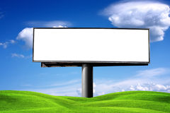 Blank Billboard. Against blue sky, put your own text here stock image