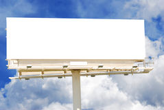 Blank Billboard. Against a partly cloudy sky stock photography