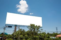 Blank billboard for ads on blue sky. Blank billboard on blue sky background for new advertisement - copy space royalty free stock photography