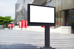 Blank billboard for advertisement on city street background Royalty Free Stock Photography