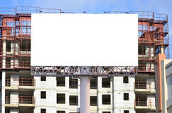 Blank billboard for advertisement on the construction site.  Stock Photo