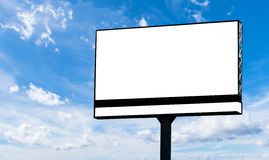 Blank billboard. For advertisement isolated on white fluffy clouds in the blue sky Stock Photography