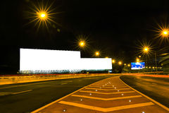 Blank billboard for advertisement at night Stock Photography