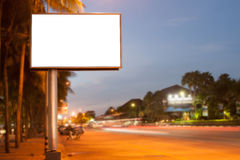 Blank billboard. For advertisement at twilight stock photos