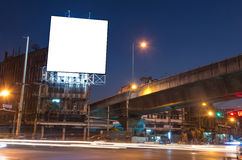 Blank billboard for advertisement at twilight time Royalty Free Stock Image