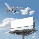 Blank billboard with airplane on. Big empty billboard with copy space for your image or text with an airplane flying on the sky, ideal for travel or vacation royalty free illustration