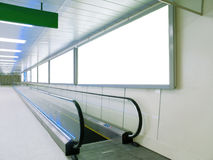 Blank Billboard And Escalator Royalty Free Stock Images