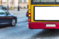 Blank billboard on back of a bus for your advertising Stock Photography