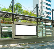 Blank Billboard. Big blank billboard in a big bus stop Stock Images