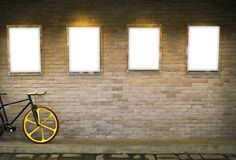 Blank billboard on brick wall Stock Photography